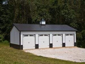 Garage with Wainscot Siding