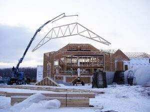 Cambered Trusses being set